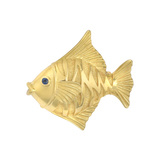 18k Yellow Gold Tropical Fish Pin