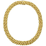 18k Gold Woven Chain Link Necklace