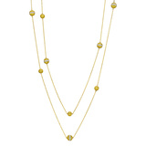 Yellow Diamond & White Sapphire Ball Long Chain Necklace