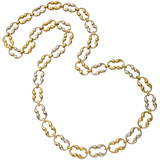 18k Yellow & White Gold Pinched Oval Link Necklace