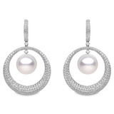 Diamond Circle & South Sea Pearl Drop Earrings