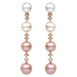 """Ombre"" Pink & White Pearl Drop Earrings"
