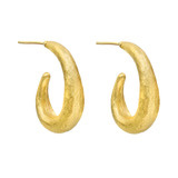 24k Gold Crescent Hoop Earrings