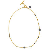 24k Gold &amp; Oxidized Gilver Bead Necklace