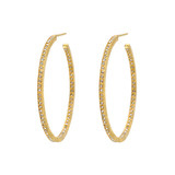 "Medium ""Lilah"" Cognac Diamond Hoop Earrings"