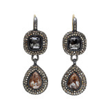 Faceted Black & Brown Diamond & Pavé Cognac Diamond Drop Earrings