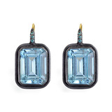 """Carmen"" Blue Topaz Drop Earrings with Blue Diamond"