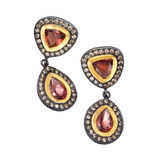 &quot;Ella&quot; Garnet &amp; Diamond Drop Earrings