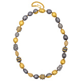"""Helen"" 24k Gold & Oxidized Gilver Necklace with Diamond"