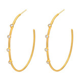 "Large 24k Gold & Diamond ""Jane"" Hoop Earrings"