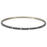 """Lilah"" Oxidized Gilver & Diamond Bangle"