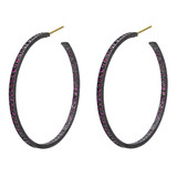 "Large ""Lilah"" Ruby Hoop Earrings"
