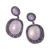 &quot;Lilah&quot; Pinkish-Gray Sapphire Slice &amp; Amethyst Drop Earrings