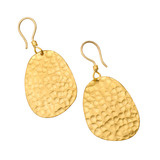 "Large ""Melissa"" 24k Gold Hammered Drop Earrings"