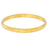 """Mica"" 24k Gold Bangle Bracelet with Diamond"