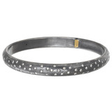 """Mica"" Oxidized Gilver & Diamond Bangle"