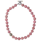 Pink Carnelian Bead Necklace with Gilver &amp; 24k Gold