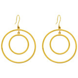 "24k Gold Double Circle ""Rachel"" Drop Earrings"