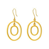 "Small ""Rachel"" 24k Gold Oval Double Drop Earrings"