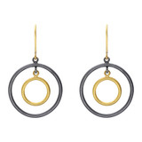 """Rachel"" 24k Gold & Gilver Round Double Drop Earrings"