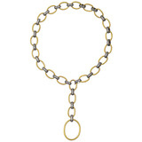 &quot;Rachel&quot; 24k Gold &amp; Gilver Link &#039;Y&#039; Necklace with Diamond