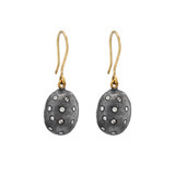 """Roxanne"" Oxidized Gilver & Diamond Drop Earrings"