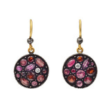 """Sara"" Gem-Set Mosaic Drop Earrings"
