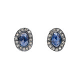 """Topkapi"" Blue Sapphire & Diamond Stud Earrings"