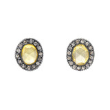 """Topkapi"" Yellow Sapphire & Diamond Stud Earrings"