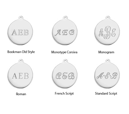 Block, Victoria, Monogram, Roman, French Script, & English Script engraving styles