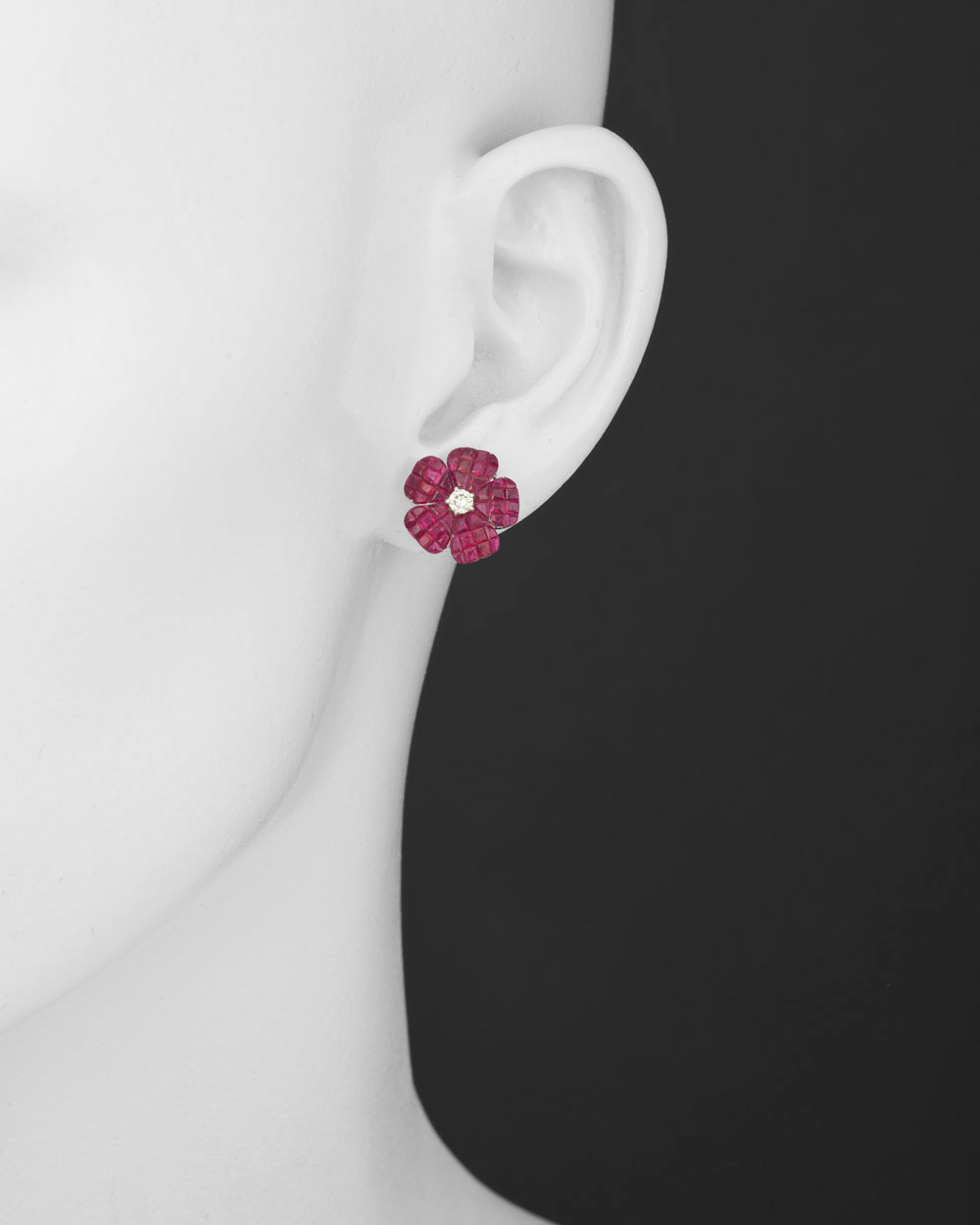 h red set invisible round natural diamond halo gold cttw earrings white i stud products ruby