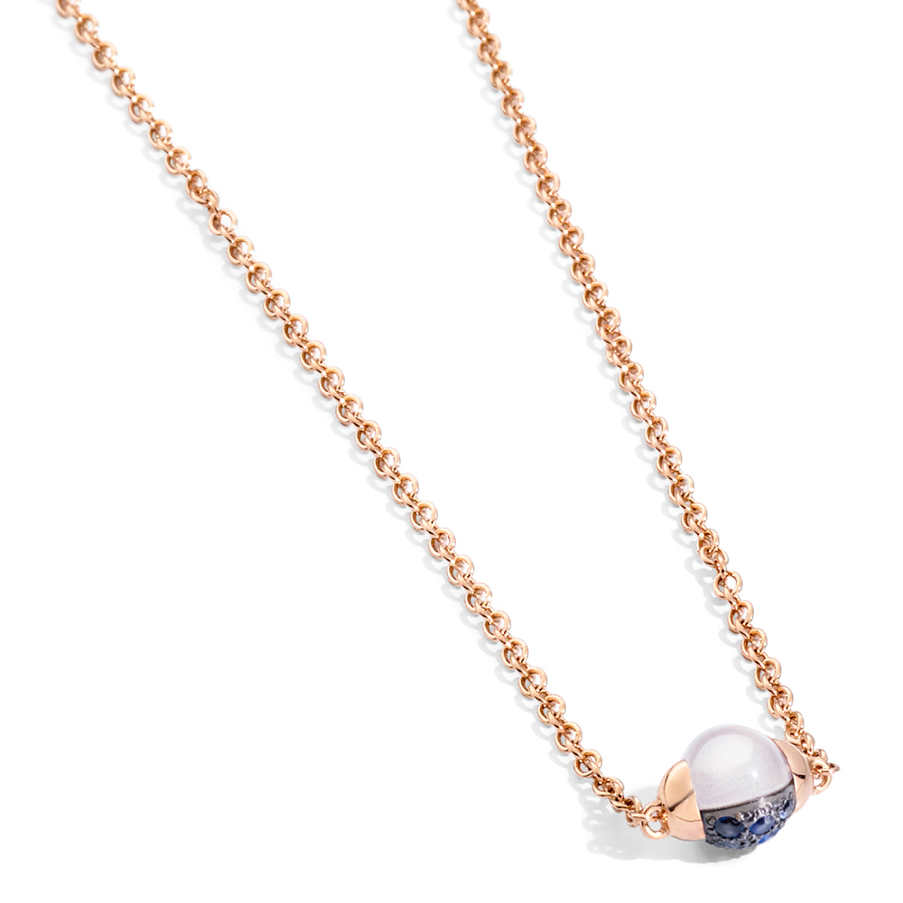 POMELLATO Mama Non Mama Pendant Necklace in Rose Gold with Moonstone & Diamonds rwurYf