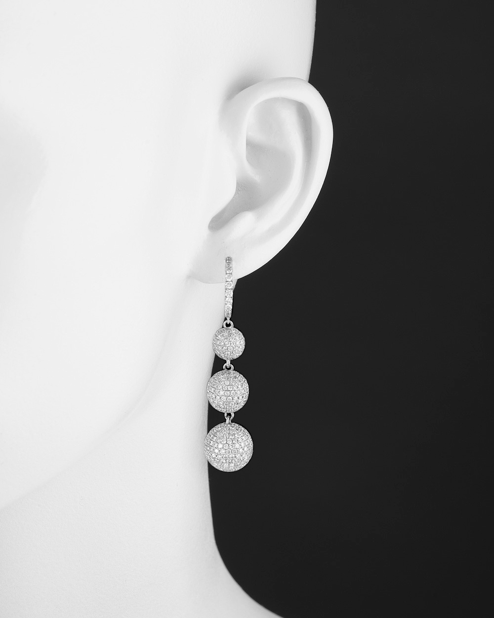 Pavé Diamond Ball 3 Drop Earrings Set With Round Diamonds Weighing Roximately 9 21 Total Carats In 18k White Gold Signed Odelia Circa 2007