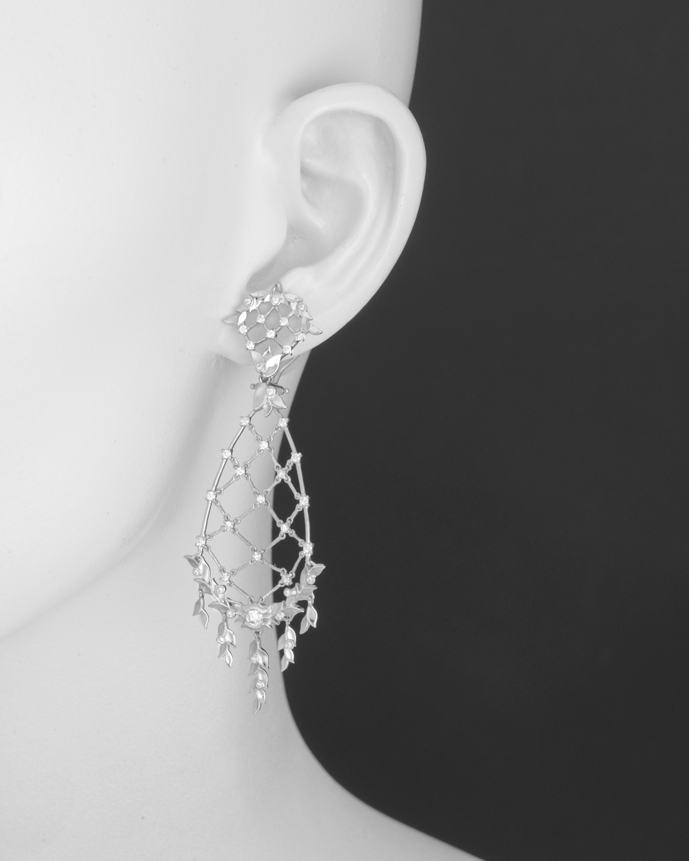 Paul morelli diamond laurel leaf chandelier earrings betteridge laurel leaf flexible chandelier earrings in 18k white gold with round cut diamonds and clip top 112 total carats of diamonds clip backs with posts aloadofball Choice Image
