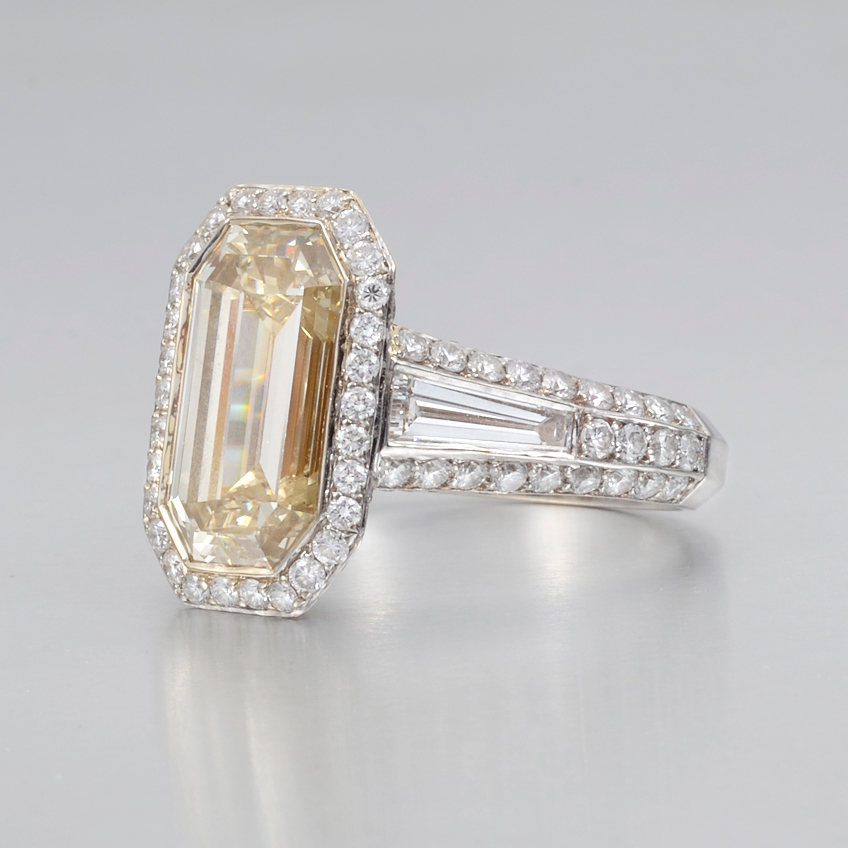 Estate Emerald Cut Champagne Diamond Ring Betteridge