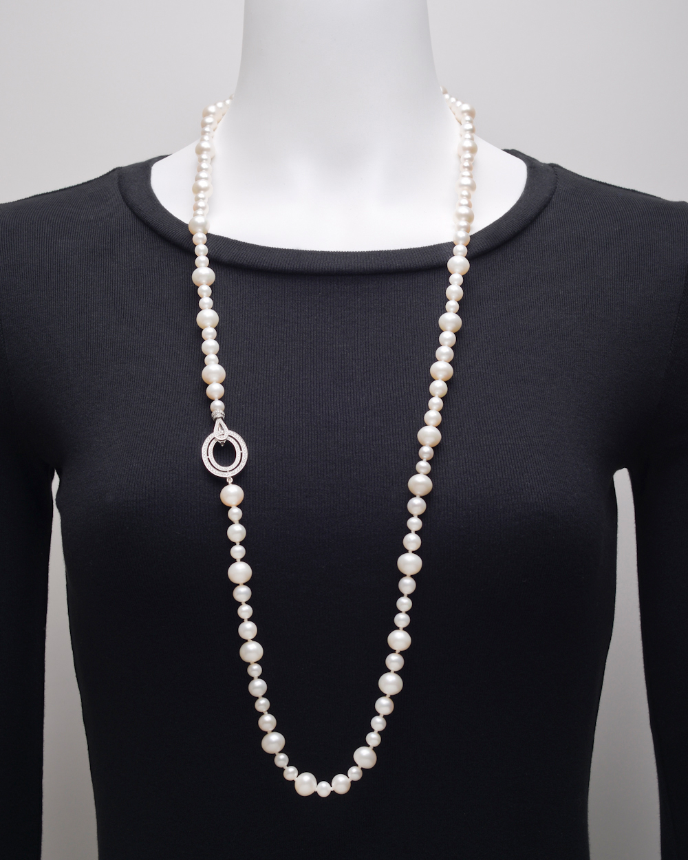 Ivanka Trump Mixed Size Pearl Long Necklace With Diamond
