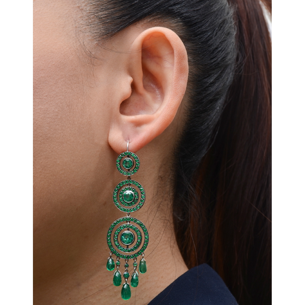 Concentric Circle Earrings: Estate Fred Leighton Emerald Concentric Circle Drop