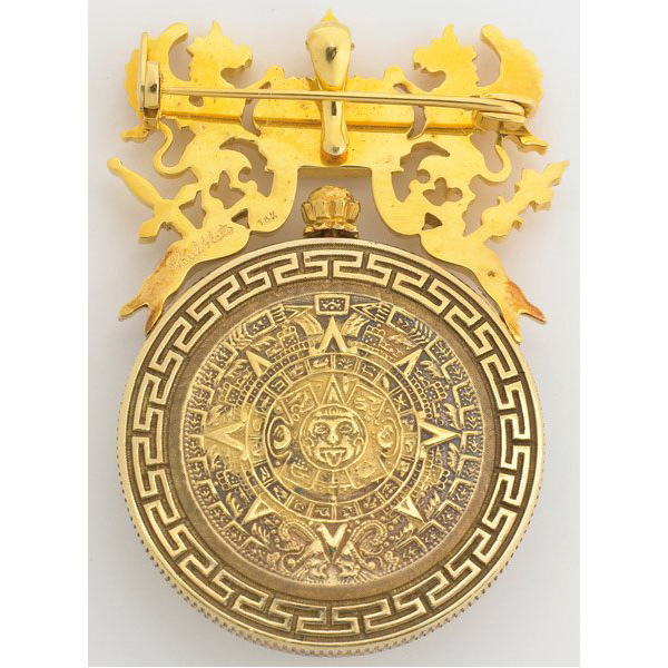 Paul flato gold imperio mexicano 1 peso pendant watch betteridge imperio mexicano 1 peso pendant brooch watch featuring a skeletonized 1866 1 peso dial with black filigree hands solid back depicting an aztec calendar aloadofball Image collections