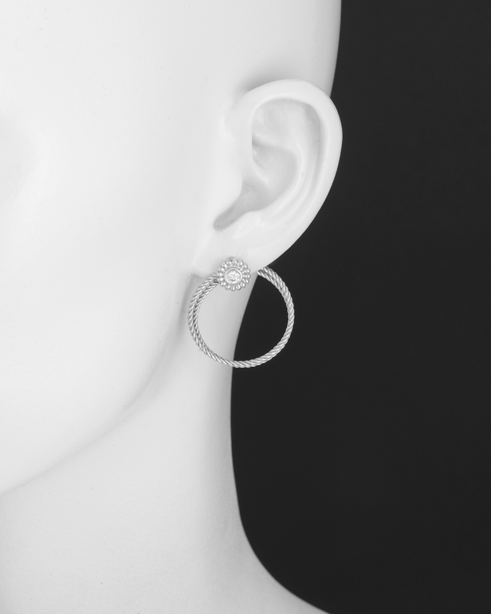 Bielka White Gold & Diamond Twisted Wire Hoop Earclips | Betteridge