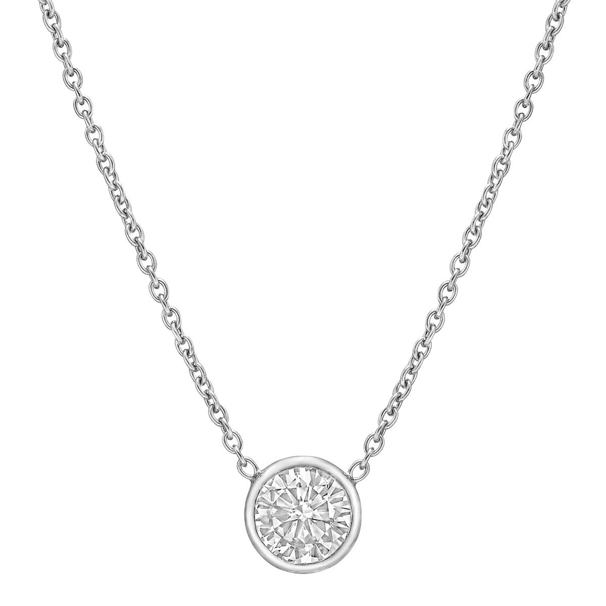 Bezel-Set Round Brilliant Diamond Solitaire Pendant