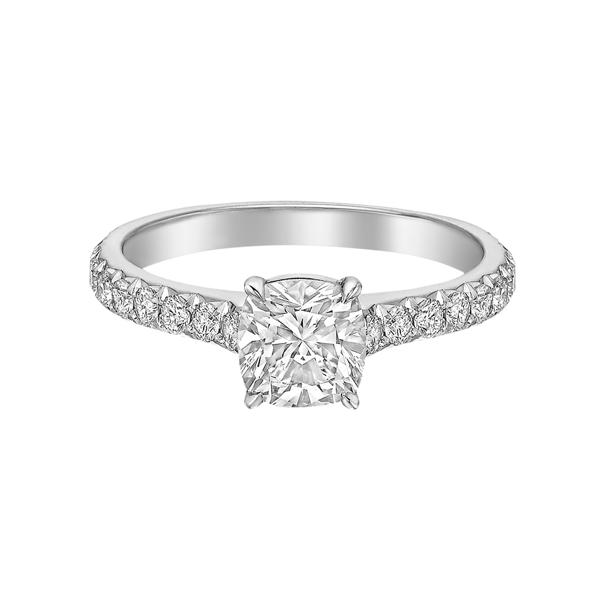 0.90ct Colorless Cushion-Cut Diamond Ring