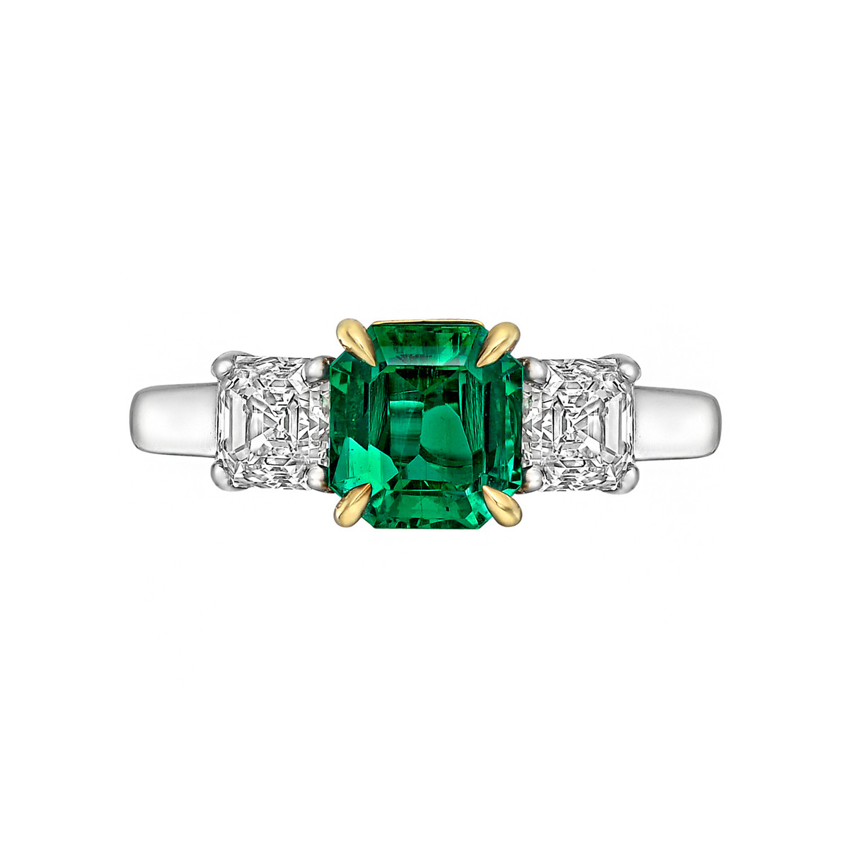 1.14ct Emerald & Diamond Three-Stone Ring