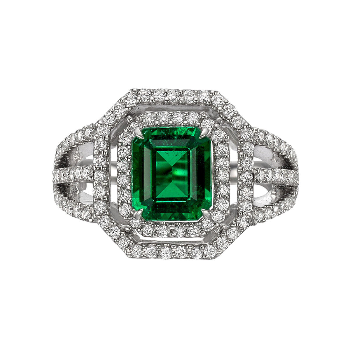 1.49ct No-Oil Emerald & Diamond Halo Ring
