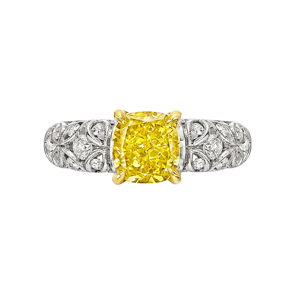 1.52 Carat Fancy Deep Yellow Diamond Ring