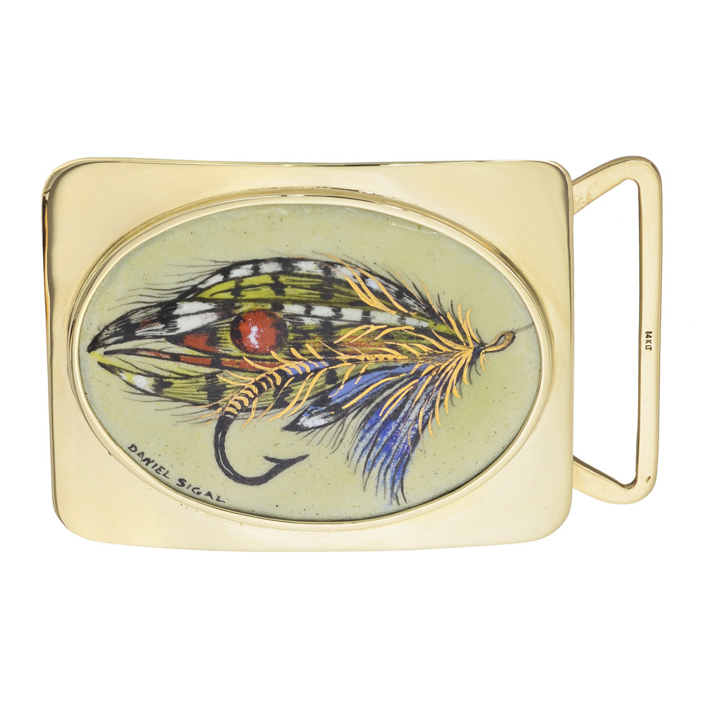 14k Gold & Enamel Fly Fishing Lure Portrait Belt Buckle
