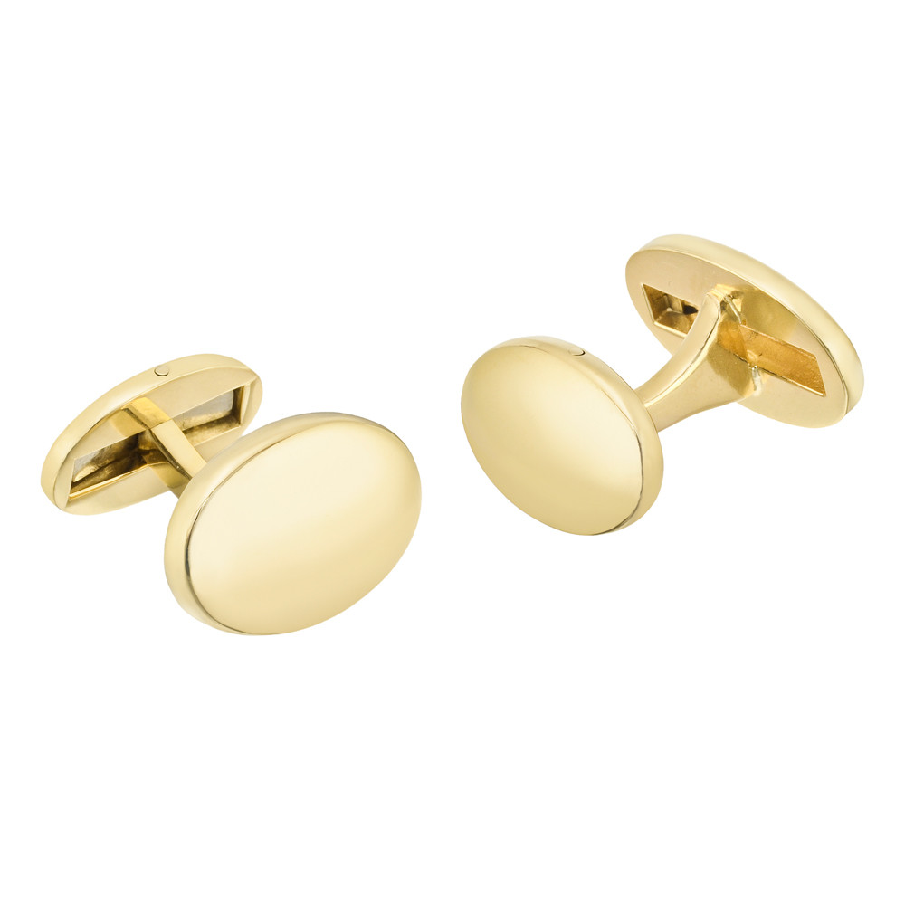 18k Yellow Gold Double-Sided Oval Cufflinks