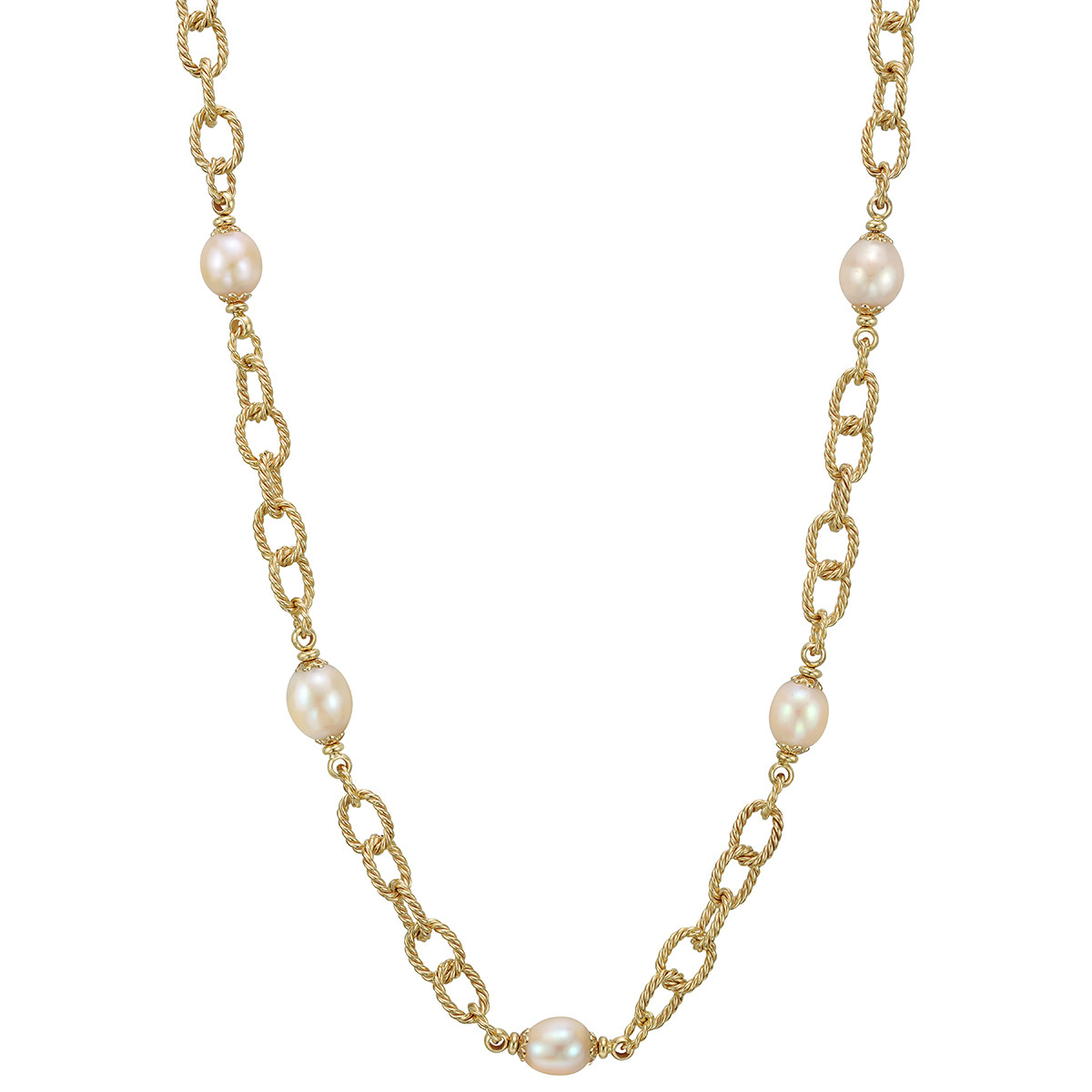14k Yellow Gold & Pearl Long Chain Necklace