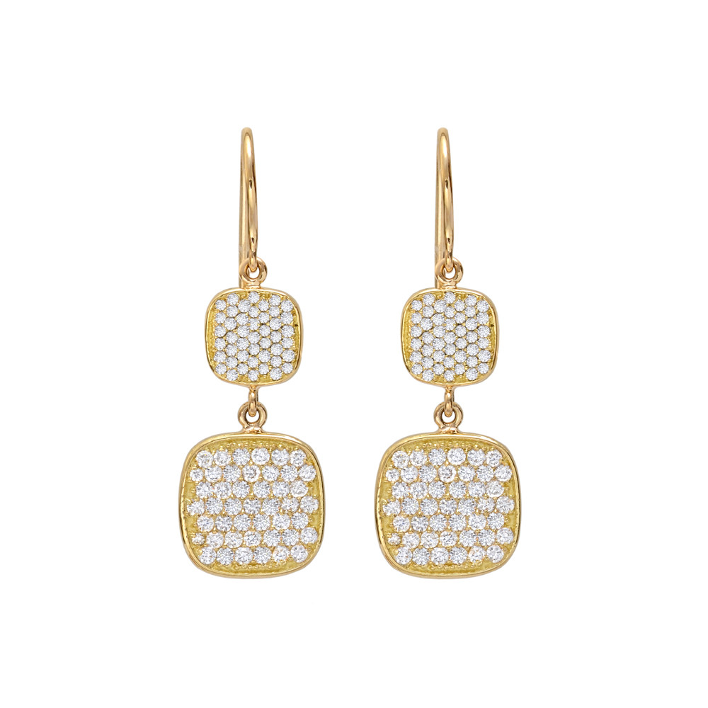 18k Yellow Gold & Diamond Cushion Drop Earrings
