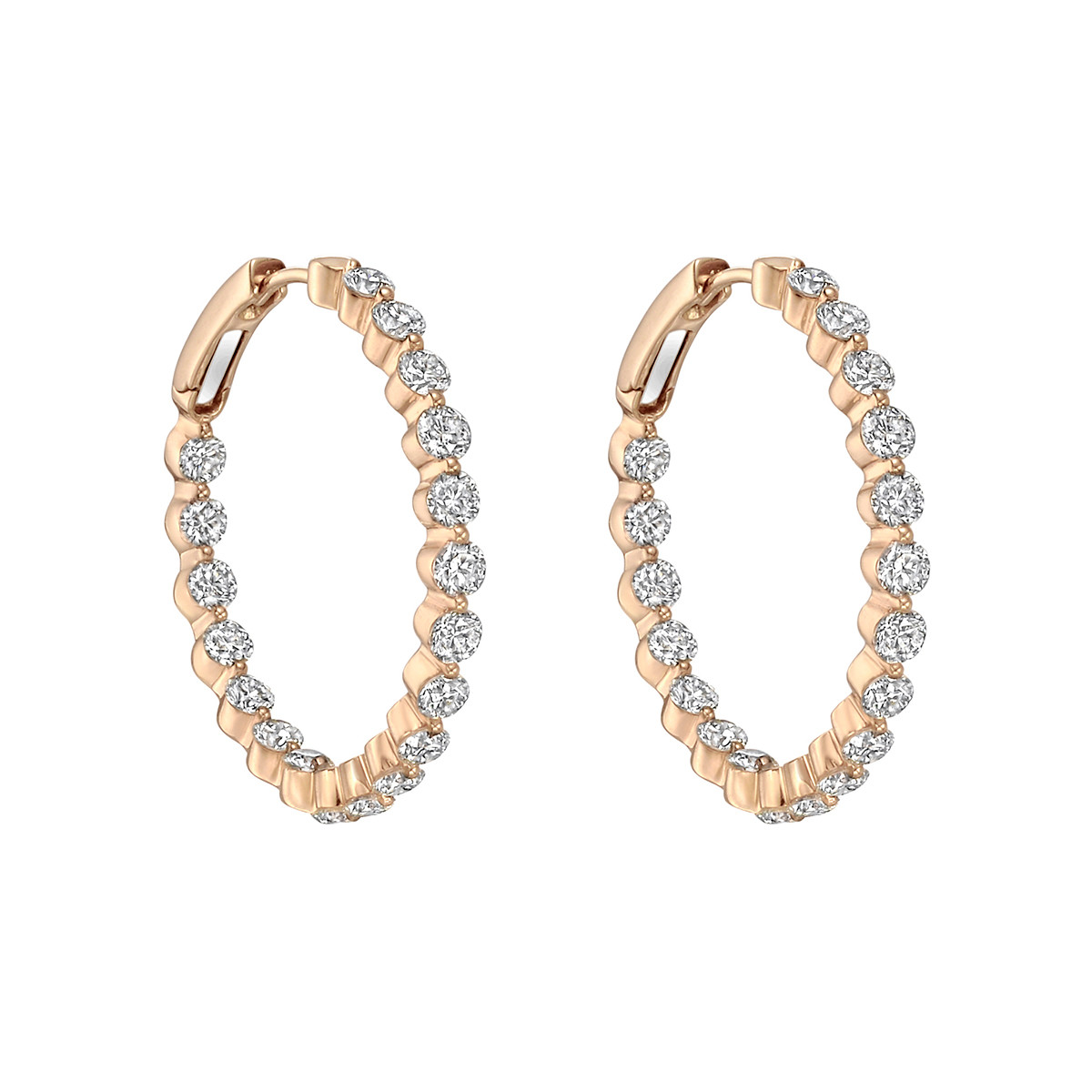 18k Pink Gold & Diamond Hoop Earrings
