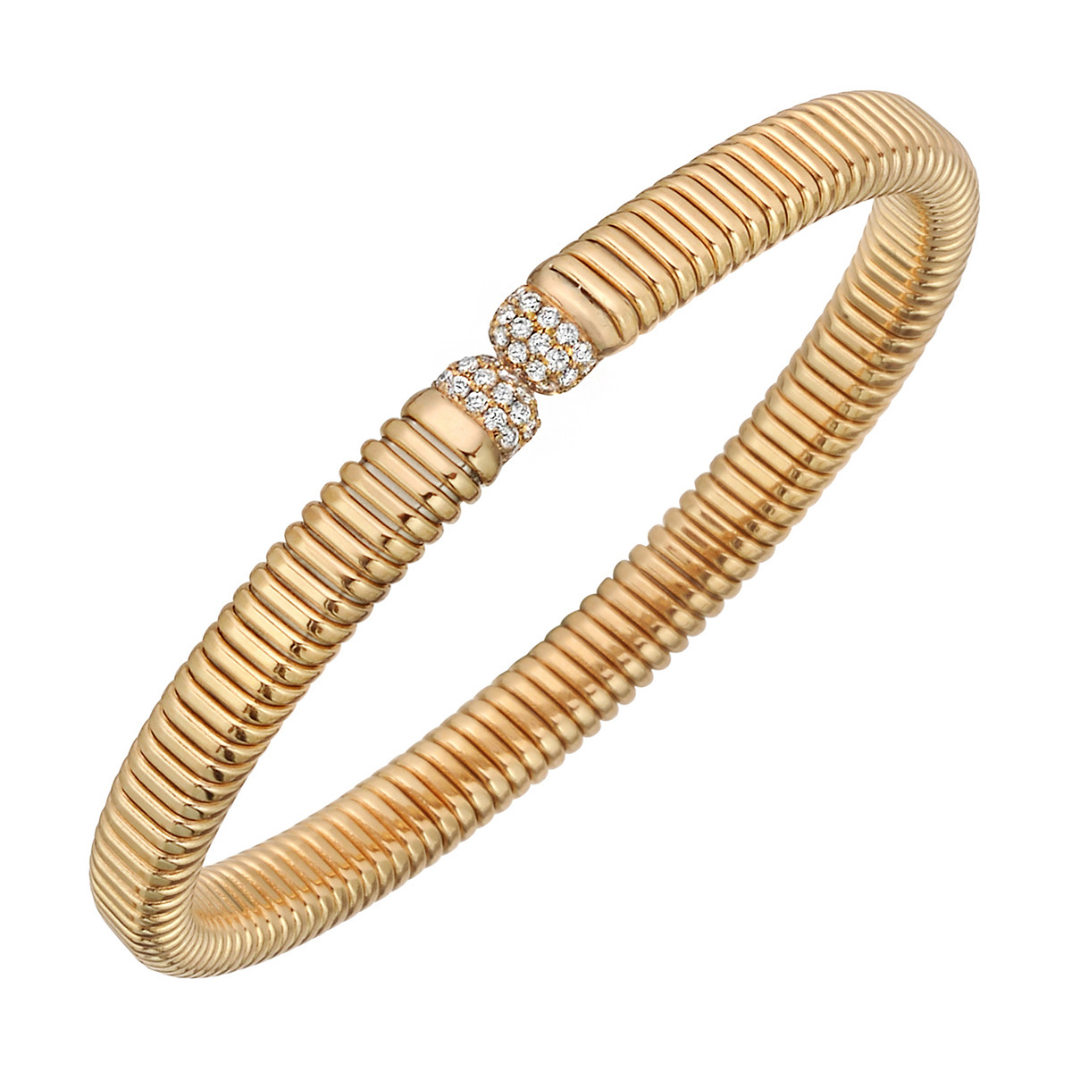 18k Rose Gold & Diamond Ribbed Cuff